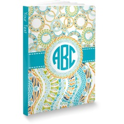 Teal Circles & Stripes Softbound Notebook (Personalized)