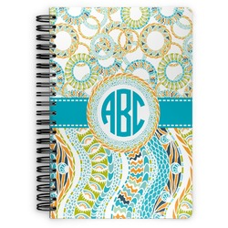 Teal Circles & Stripes Spiral Bound Notebook (Personalized)