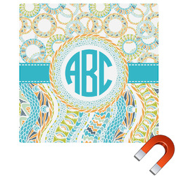 Teal Circles & Stripes Square Car Magnet (Personalized)