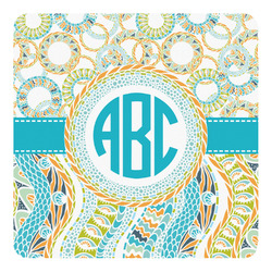 Teal Circles & Stripes Square Decal (Personalized)