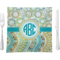 """Teal Circles & Stripes Glass Square Lunch / Dinner Plate 9.5"""" - Single or Set of 4 (Personalized)"""