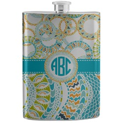 Teal Circles & Stripes Stainless Steel Flask (Personalized)