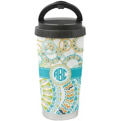 Teal Circles & Stripes Stainless Steel Travel Mug (Personalized)