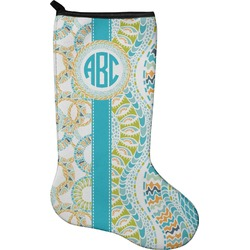 Teal Circles & Stripes Christmas Stocking - Neoprene (Personalized)