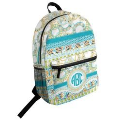 Teal Circles & Stripes Student Backpack (Personalized)