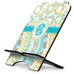 Teal Circles & Stripes Stylized Tablet Stand (Personalized)