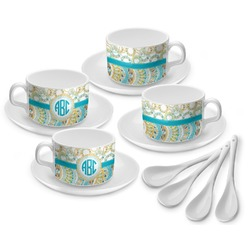 Teal Circles & Stripes Tea Cup - Set of 4 (Personalized)