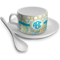 Teal Circles & Stripes Tea Cup - Single (Personalized)