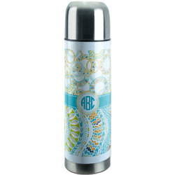 Teal Circles & Stripes Stainless Steel Thermos (Personalized)