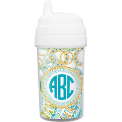 Teal Circles & Stripes Sippy Cup (Personalized)