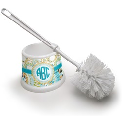 Teal Circles & Stripes Toilet Brush (Personalized)