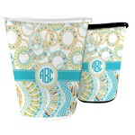 Teal Circles & Stripes Waste Basket (Personalized)