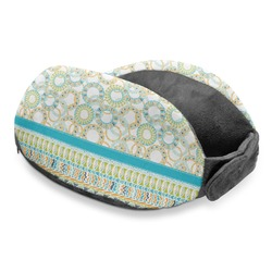 Teal Circles & Stripes Travel Neck Pillow (Personalized)