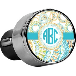 Teal Circles & Stripes USB Car Charger (Personalized)
