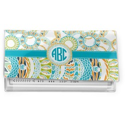 Teal Circles & Stripes Vinyl Checkbook Cover (Personalized)