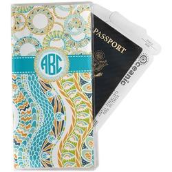 Teal Circles & Stripes Travel Document Holder