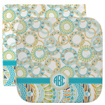 Teal Circles & Stripes Facecloth / Wash Cloth (Personalized)