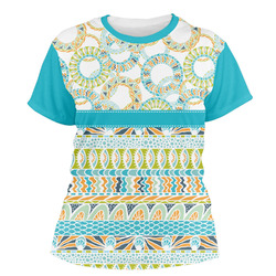 Teal Circles & Stripes Women's Crew T-Shirt (Personalized)