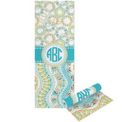 Teal Circles & Stripes Yoga Mat - Printable Front and Back (Personalized)