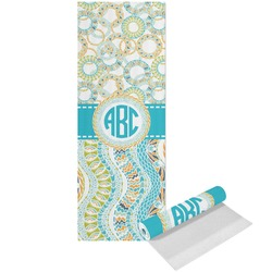 Teal Circles & Stripes Yoga Mat - Printed Front (Personalized)