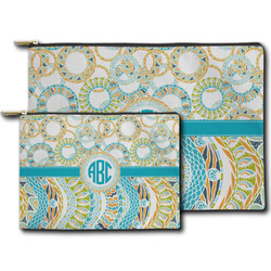 Teal Circles & Stripes Zipper Pouch (Personalized)