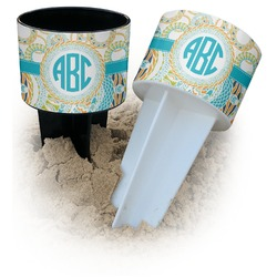 Teal Circles & Stripes Beach Spiker Drink Holder (Personalized)