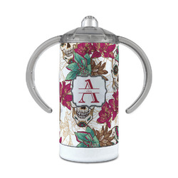 Sugar Skulls & Flowers 12 oz Stainless Steel Sippy Cup (Personalized)