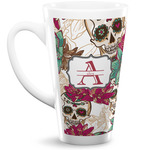 Sugar Skulls & Flowers 16 Oz Latte Mug (Personalized)