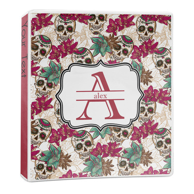 Sugar Skulls & Flowers 3-Ring Binder - 1 inch (Personalized)