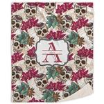 Sugar Skulls & Flowers Sherpa Throw Blanket (Personalized)
