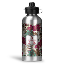 Sugar Skulls & Flowers Water Bottle - Aluminum - 20 oz (Personalized)
