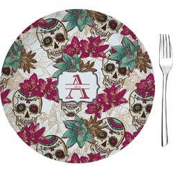 "Sugar Skulls & Flowers Glass Appetizer / Dessert Plates 8"" - Single or Set (Personalized)"