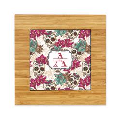 Sugar Skulls & Flowers Bamboo Trivet with Ceramic Tile Insert (Personalized)