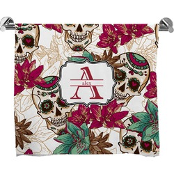 Sugar Skulls & Flowers Full Print Bath Towel (Personalized)