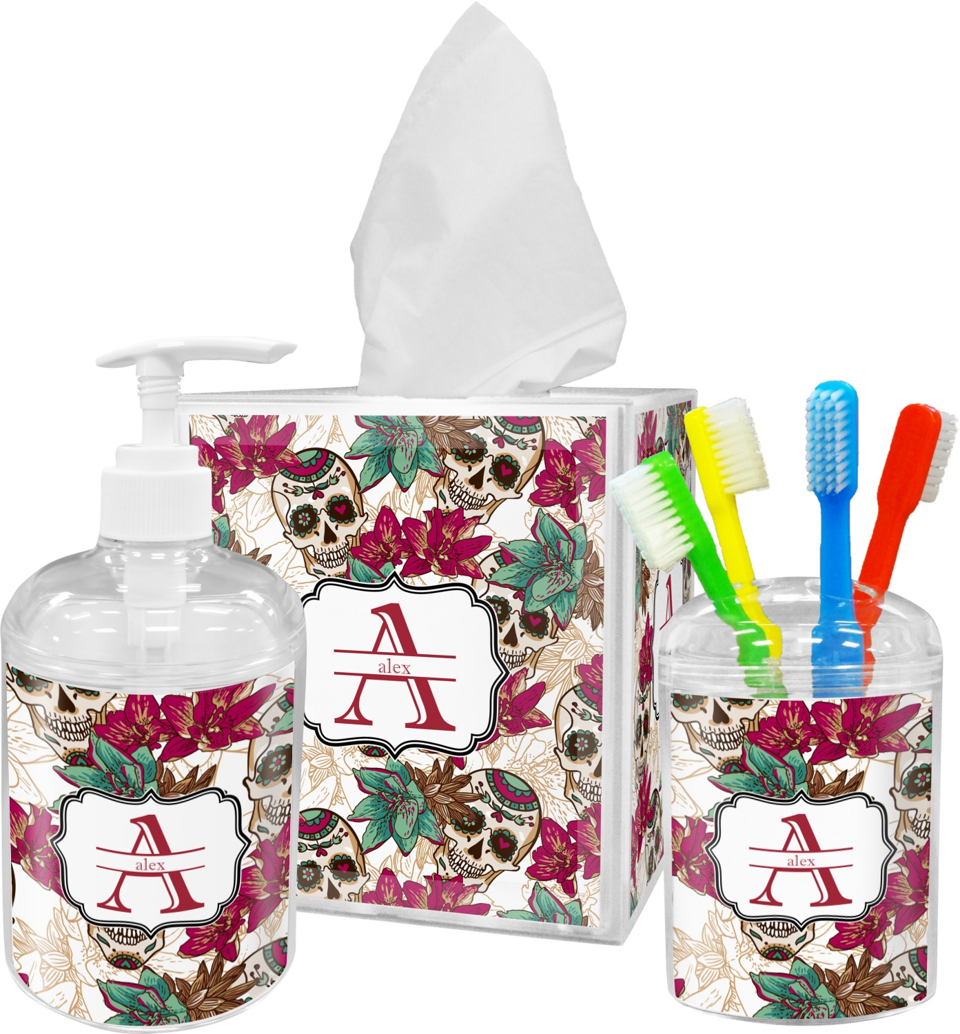 Sugar Skulls & Flowers Bathroom Accessories Set (Personalized ...