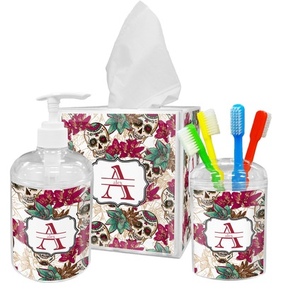 Sugar Skulls & Flowers Bathroom Accessories Set (Personalized)