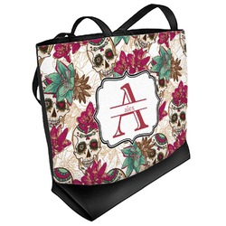 Sugar Skulls & Flowers Beach Tote Bag (Personalized)