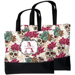 Sugar Skulls & Flowers Beach Tote Bag (Personalized)