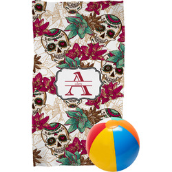 Sugar Skulls & Flowers Beach Towel (Personalized)