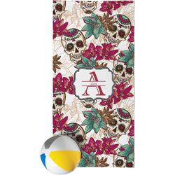 Sugar Skulls & Flowers Beach Towel (Personalized)