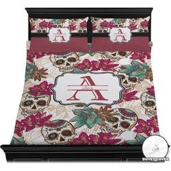 Sugar Skulls & Flowers Duvet Cover Set (Personalized)