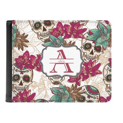 Sugar Skulls & Flowers Genuine Leather Men's Bi-fold Wallet (Personalized)