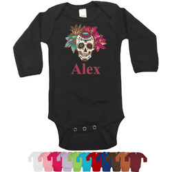 Sugar Skulls & Flowers Long Sleeves Bodysuit - 12 Colors (Personalized)