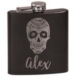 Sugar Skulls & Flowers Black Flask Set (Personalized)