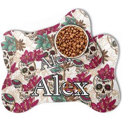 Sugar Skulls & Flowers Bone Shaped Dog Food Mat (Personalized)
