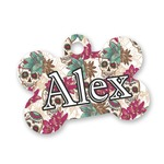 Sugar Skulls & Flowers Bone Shaped Dog Tag (Personalized)