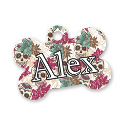 Sugar Skulls & Flowers Bone Shaped Dog Tag (Personalized)
