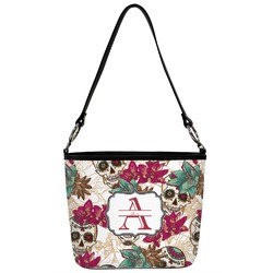 Sugar Skulls & Flowers Bucket Bag w/ Genuine Leather Trim (Personalized)