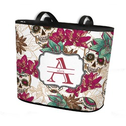 Sugar Skulls & Flowers Bucket Tote w/ Genuine Leather Trim (Personalized)