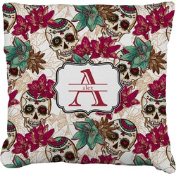 Sugar Skulls & Flowers Faux-Linen Throw Pillow (Personalized)